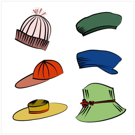Vector set of hats, hand drawn icons in doodle style, collection of cartoon caps and headdress set, sketch illustration
