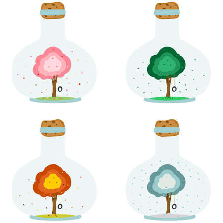 Magical bottle with tree. Times of year, tree in four seasons of the year - spring, summer, autumn, winter. Set of bottles in flat design. Vector illustration isolated on white background
