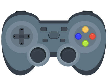 Joystick or gamepad. Wireless game controller for games on console or pc. Flat vector illustration, cartoon design Vecteurs