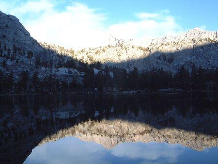 Mirror image in lake Stock Photo