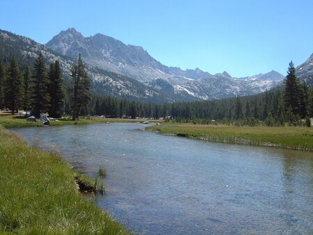 Sierra stream with pine forest and mountain backdrop Stock fotó
