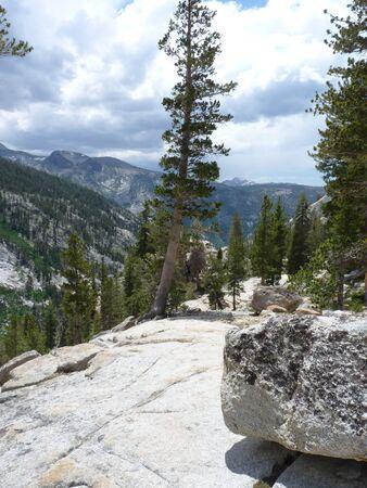 California Sierras granite rocks and distant views