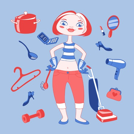 Vector illustration of cartoon housewife mom with different things around her Vector