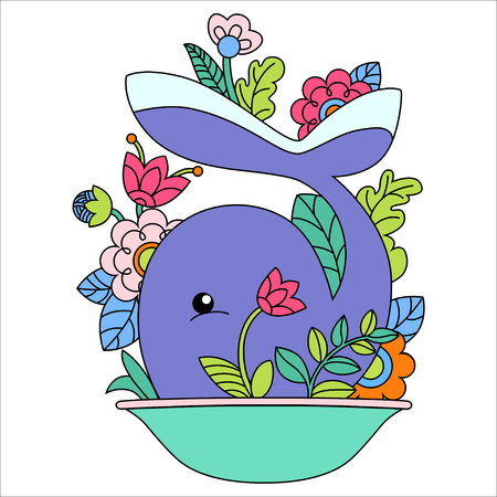 Vector illustration of cartoon whale with flower on white background Vector