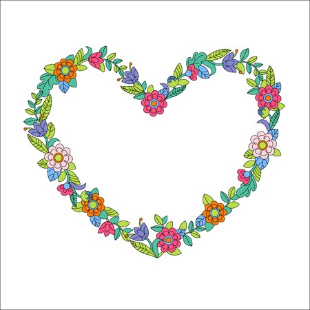 Vector illustration of flower heart frame white background Vector