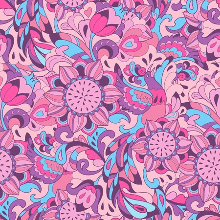 Vector background with sunbird Phoenix and sunflower in pink blue style for your design