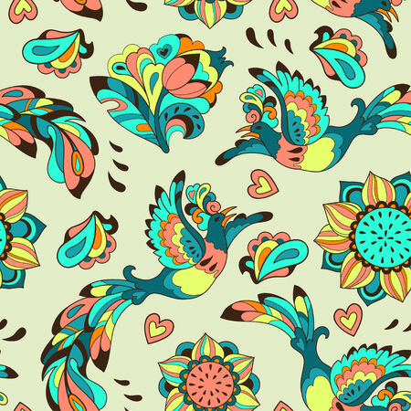 Vector background with sunbird Phoenix and sunflower in colorful style for your design Vector