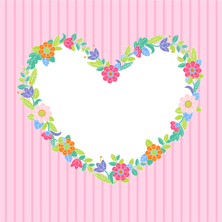 Flower heart frame on pink stripes background Vector