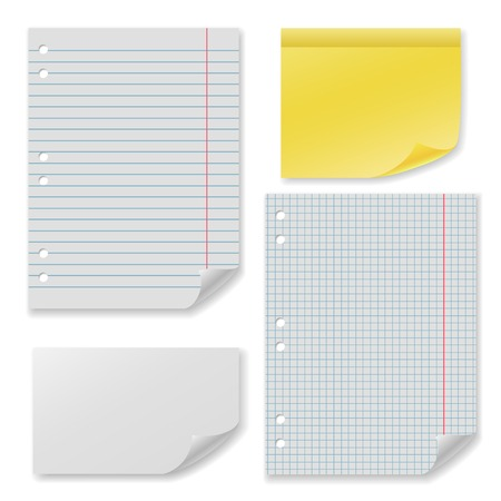 Note paper set with clear blank squared and lined notepad pages Vector
