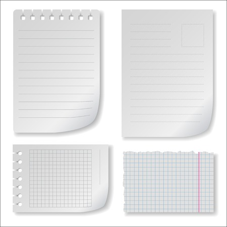 brim: Note paper set with ragged squared and lined notepad pages