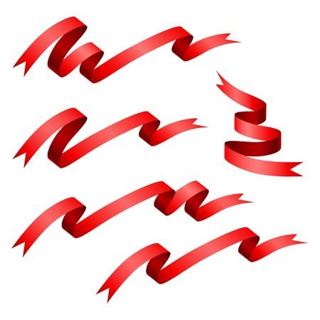 우아함 빨간 리본 배너 빈 집합에 격리 된 흰색 배경