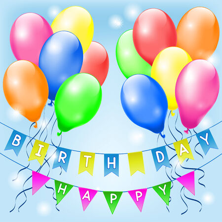 banneret: Particolored balloons and small flags with Happy birthday letters