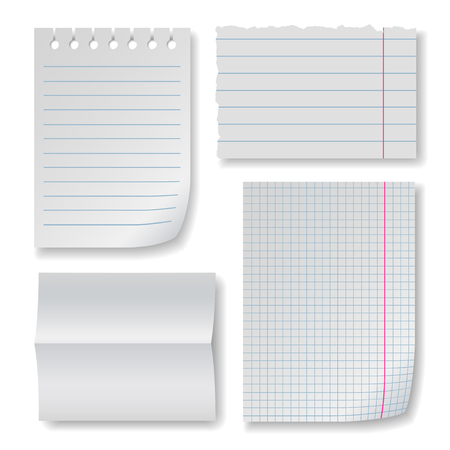 brim: Note paper set with folded clear blank, squared and lined notepad pages