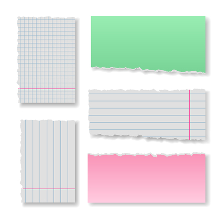 squared: Note paper set with ragged clear blank squared and lined notepad pages