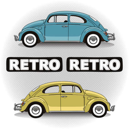 Concept retro car in two colors with lettering Vector