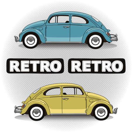 käfer: Konzept Retro-Auto in zwei Farben mit Schriftzug
