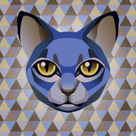 indie: Abstract poster blue cat on a geometric rhombus background