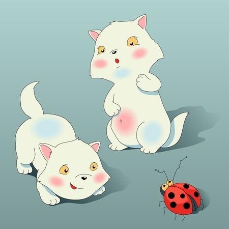 Two cute and shy kitten plays with ladybird Vector