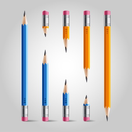 Short and long orange blue pencil set, isolated