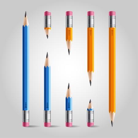 Short and long orange blue pencil set, isolated