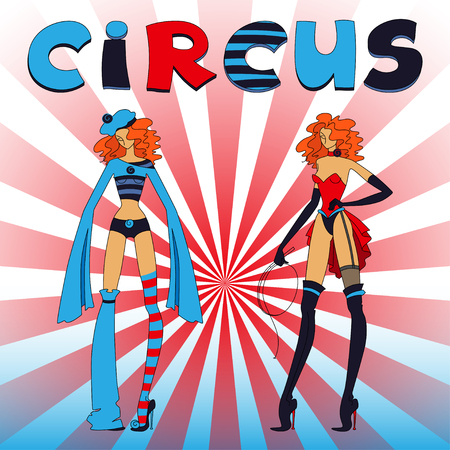 Two thin circus standing girls, red and blue clothing, with title Vector