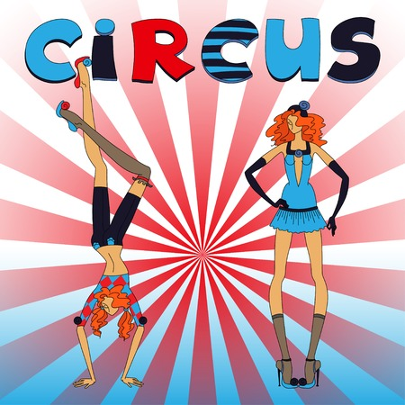 Two thin circus girls, standing and handstand, red and blue clothing, with title Vector