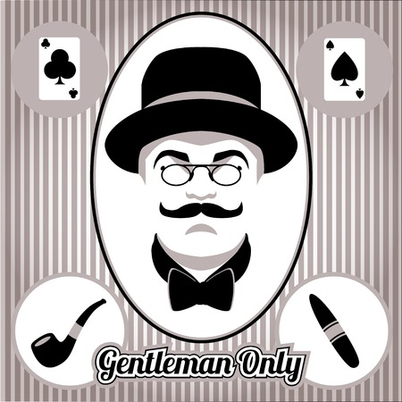Retro, vintage gentleman face and accessories, isolated