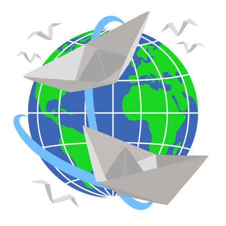 Two paper boats sail around the planet Earth Vector