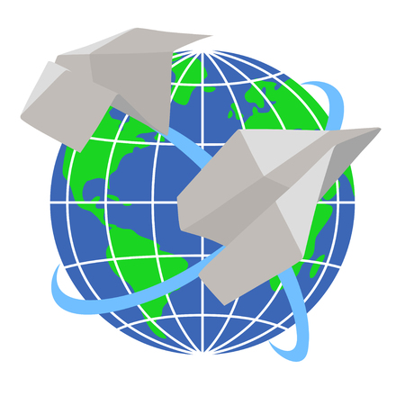 Two paper airplanes fly around the planet Earth Vector