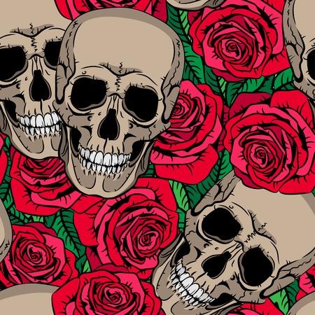 두개골과 빨간 장미와 원활한 패턴