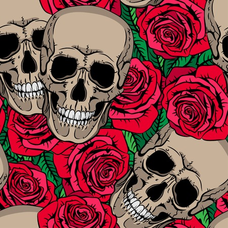 Seamless pattern with skulls and red roses