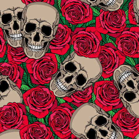 Seamless pattern with skulls and red roses Stock fotó - 28414744