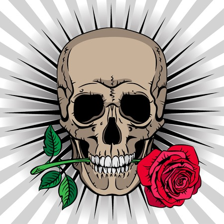 dead: Skull holding a rose in his mouth on striped background Illustration