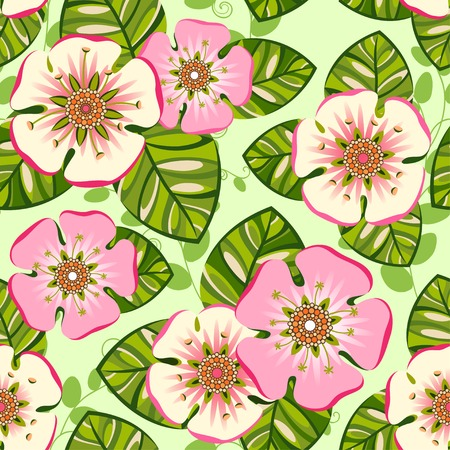 Romantic floral seamless pattern with big pink flowers Vector