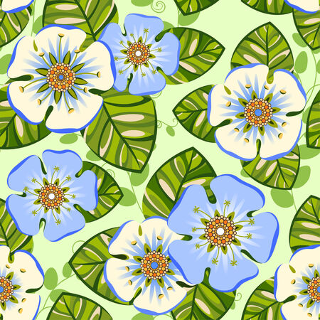 Romantic floral seamless pattern with big blue flowers Vector