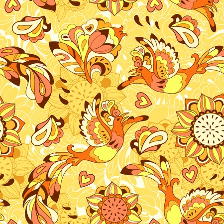 Seamless pattern or background with sunbird Phoenix and sunflower in yellow style Vector