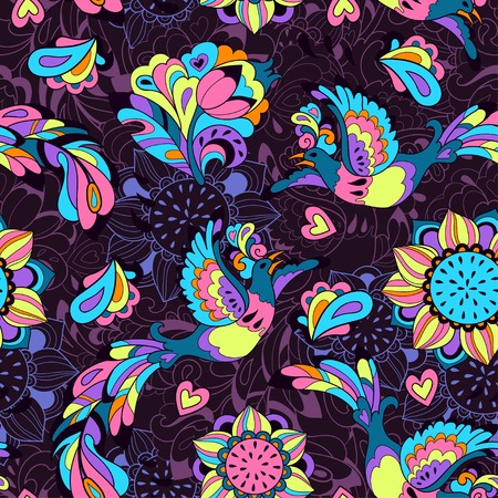 Seamless pattern or background with sunbird Phoenix and sunflower in violet style Vector