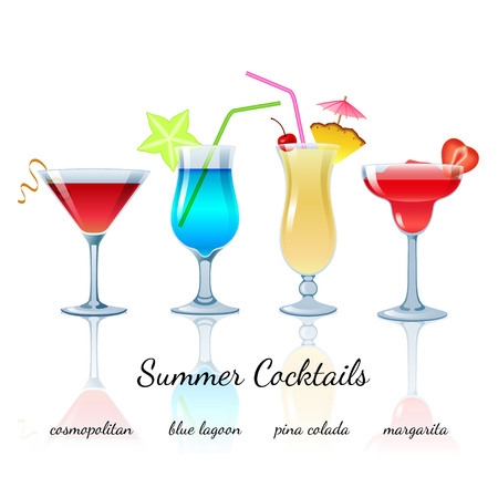 Summer cocktails set (isolated): Cosmopolitan, Blue lagoon, Pina colada, Margarita