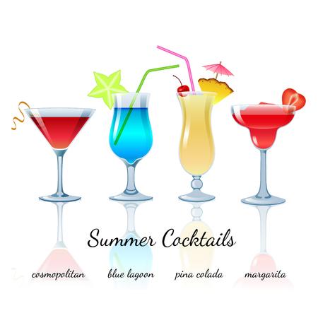 margarita: Summer cocktails set (isolated): Cosmopolitan, Blue lagoon, Pina colada, Margarita