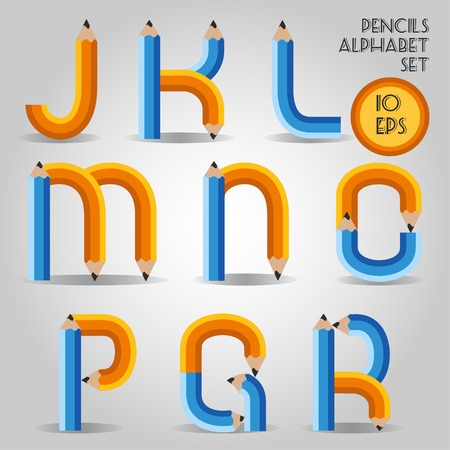 Alphabet in wooden bold pencil style Vector