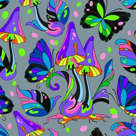 サイケデリックなキノコと蝶シームレスなパターンは、灰色の背景  イラスト・ベクター素材