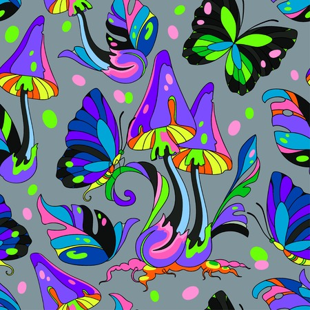 toxic mushroom: Psychedelic mushroom and butterfly seamless pattern, gray background Illustration