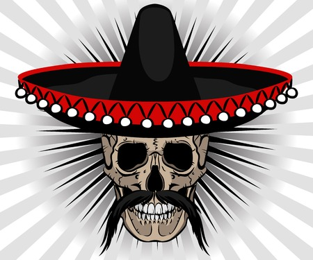 Skull Mexican style with sombrero and mustache on striped background