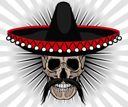 mexican sombrero: Stile Skull messicano con il sombrero e baffi su sfondo a strisce