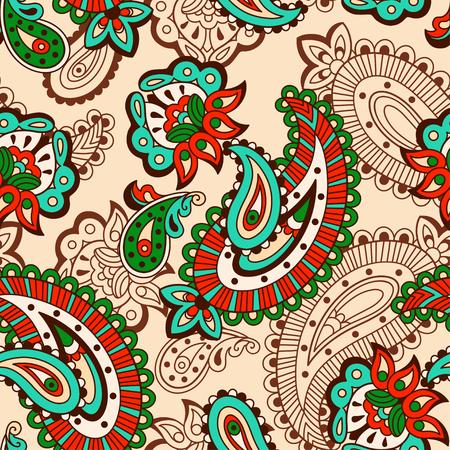 floral tracery: Turkish cucumber seamless ornate pattern beige background Illustration