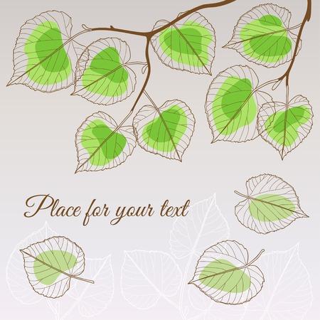 Hoja de tilo estilo verde transparente abstracto con el lugar para el texto