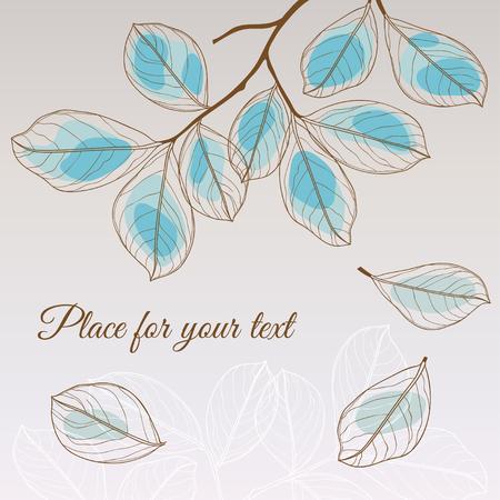 Hoja de tilo estilo transparente azul abstracto con el lugar para el texto