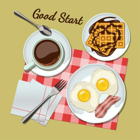 belgian waffle: Breakfast set top view. Coffee, fried egg with bacon, waffles