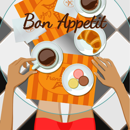 Girl and coffee top view. Girl, coffee, croissant, macaroons Illustration