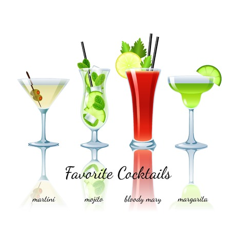 Favorite cocktails set isolated. Martini, Mojito, Bloody Mary, Margarita Illusztráció